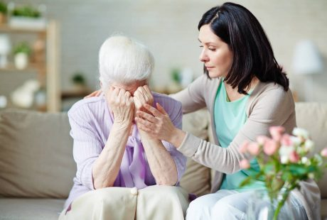 Consoling Elderly Lady during time of grief - Weldon Funeral Services Bournemouth Poole Christchurch Dorset